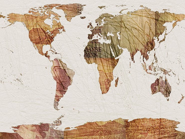 World Map Vintage Currency A1 Hello Pretty Buy design