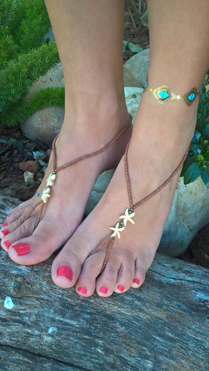 90e427931577 Star Fish Barefoot Sandals - Foot Jewelry - Beaded Anklet - Beach Shoes by  AhyokaAfrica