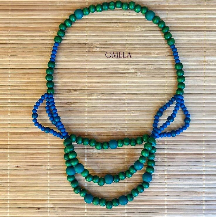 Forest Sky Bead Necklace by Omela Boutique