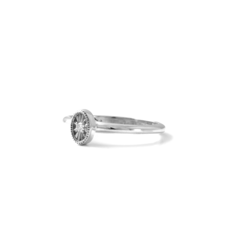 Diamond Oval Ring - Palladium Plated Sterling Silver by WHYJewellery