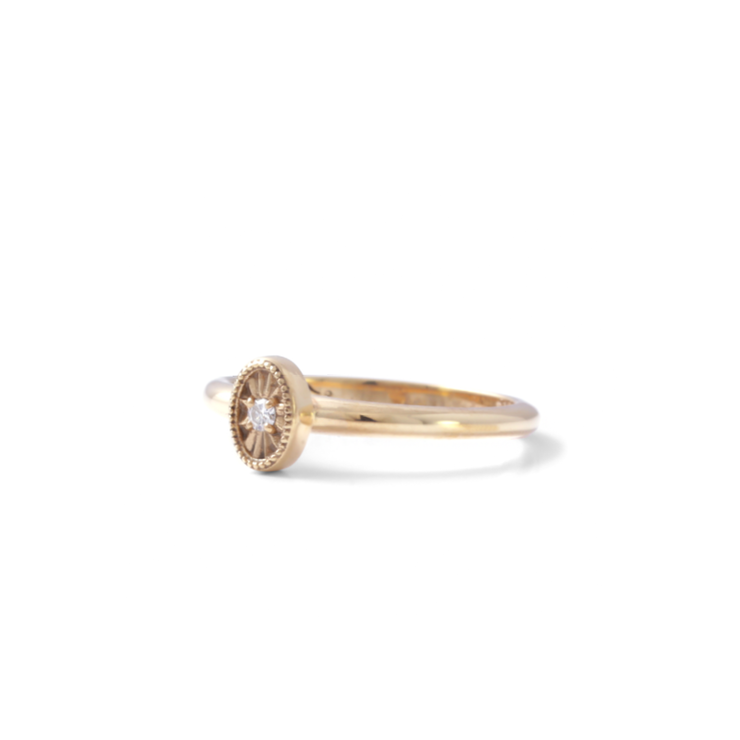 Diamond Oval Ring - 18ct Yellow Gold Plated Sterling Silver by WHYJewellery