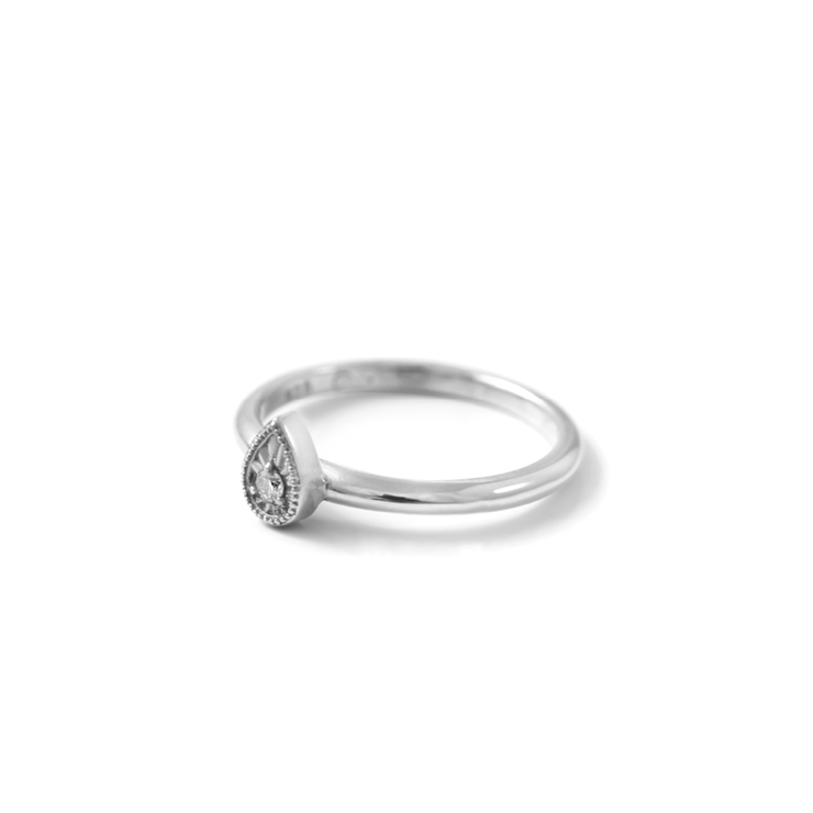 Diamond Teardrop Ring - Palladium Plated Sterling Silver by WHYJewellery