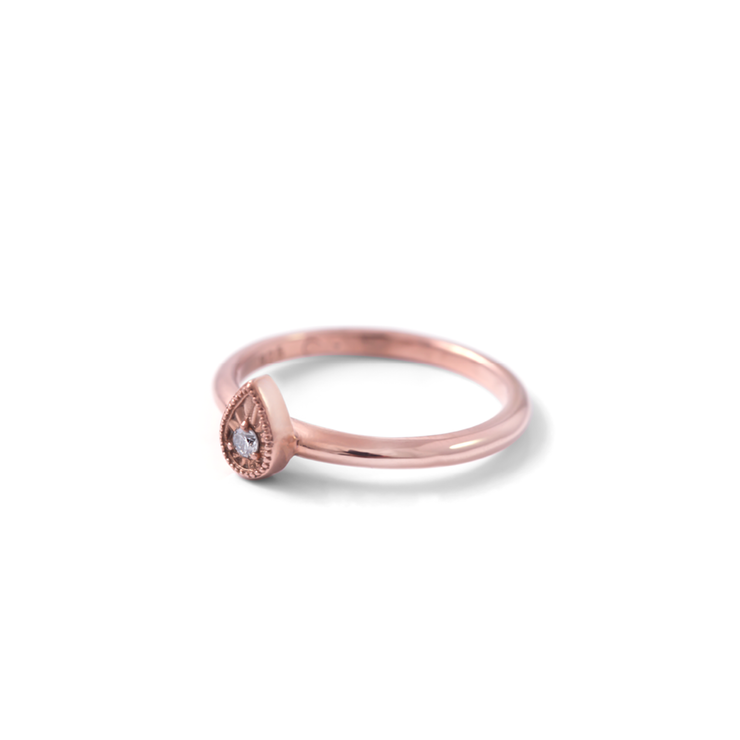 Diamond Teardrop Ring - 18ct Rose Gold Plated Sterling Silver by WHYJewellery