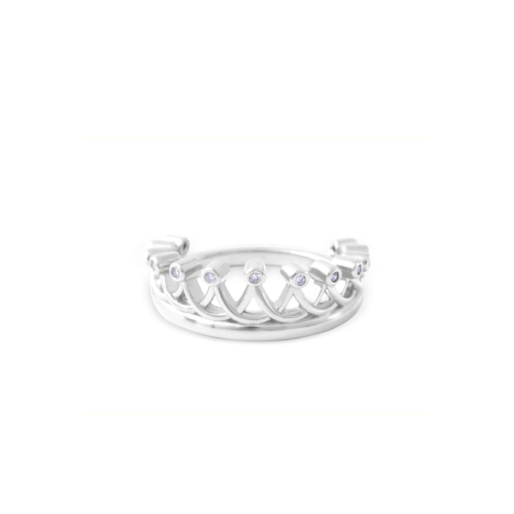 13 Diamond Crown Ring - Palladium Plated Sterling Silver by WHYJewellery