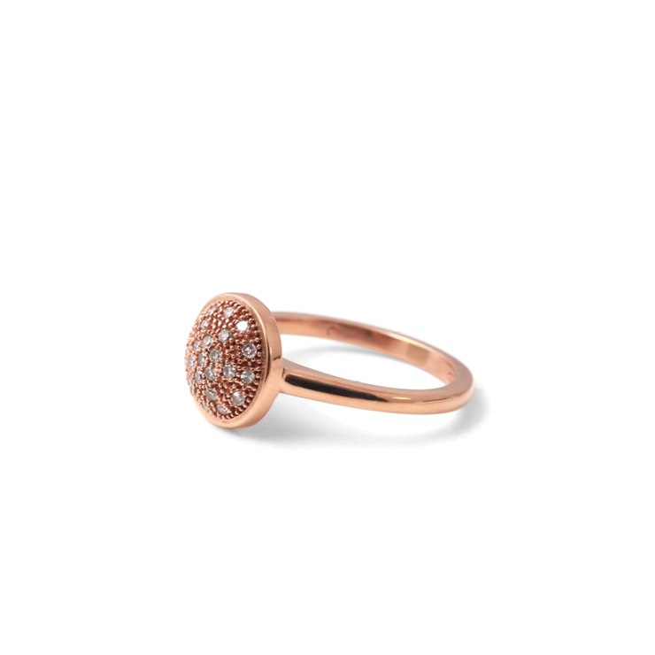 Halo Domed Diamond Ring - 18ct Rose Gold Plated Sterling Silver by WHYJewellery
