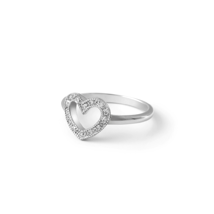 Heart Diamond Ring - Palladium Plated Sterling Silver  by WHYJewellery