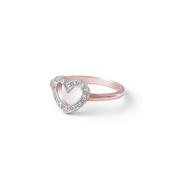 Diamond Heart Ring - 18ct Rose Gold Plated Sterling Silver by WHYJewellery