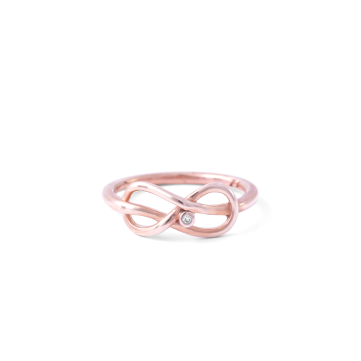 Infinity Diamond Ring - 18ct Rose Gold Plated Sterling Silver by WHYJewellery