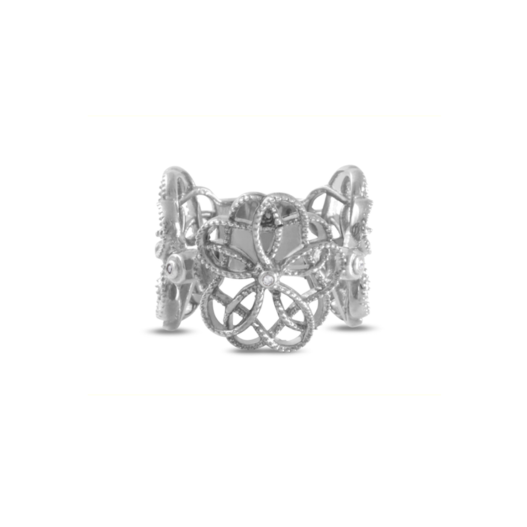 Bold Floral Diamond Ring - Palladium Plated Sterling Silver by WHYJewellery
