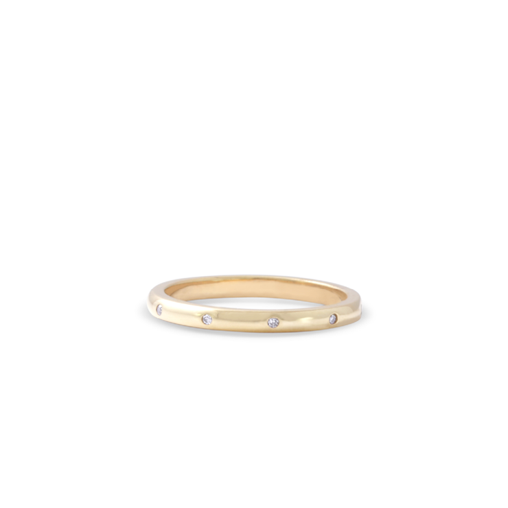 Diamond Band - 18ct Yellow Gold Plated Sterling Silver by WHYJewellery