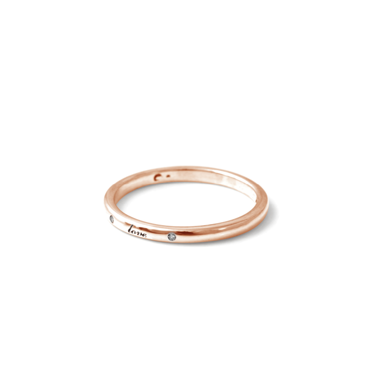 Diamond Love Band - 18ct Rose Gold Plated Sterling Silver by WHYJewellery
