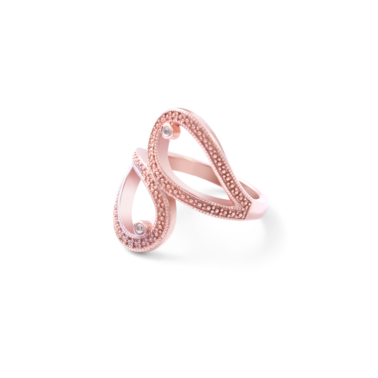 Double Teardrop Diamond Ring - 18ct Rose Gold Plated Sterling Silver by WHYJewellery