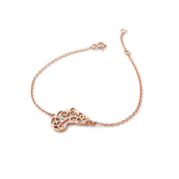 Africa Diamond Bracelet - 18ct Rose Gold Plated Sterling Silver by WHYJewellery
