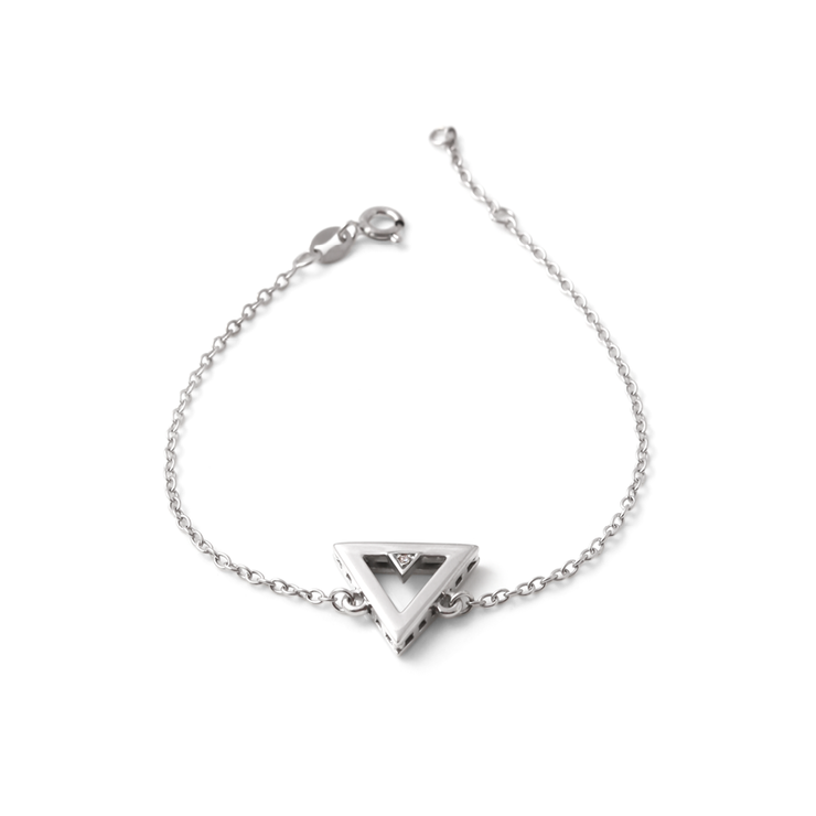 Triangle Diamond Bracelet - Palladium Plated Sterling Silver by WHYJewellery