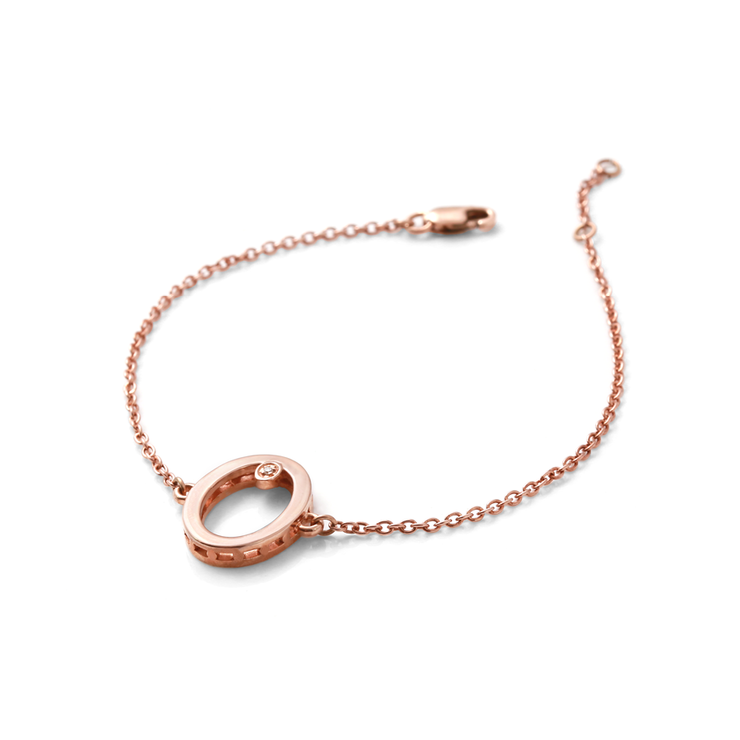 [WHY HER] Shapes Collection- Rose Gold Plated Oval Diamond Bracelet by WHYJewellery