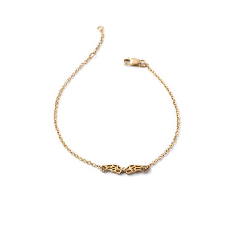 Wing Diamond Bracelet - 18ct Yellow Gold Plated Sterling Silver by WHYJewellery