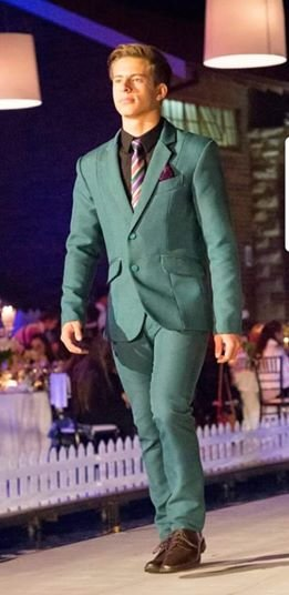YB29: Sea-green, textured, 2 piece fitted suit. by Yihan Brönn Couture