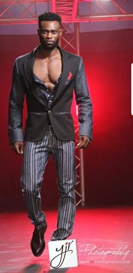 YB43: Denim, male corset, black jacket by Yihan Brönn Couture