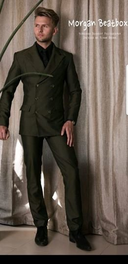 YB9: Olive green, double breast, business suit. by Yihan Brönn Couture