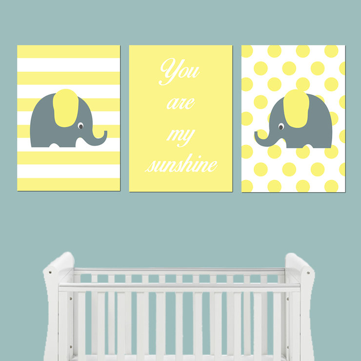 Yellow Grey Elephant Digital Wall Art Design Set by Wendy Offer Designs