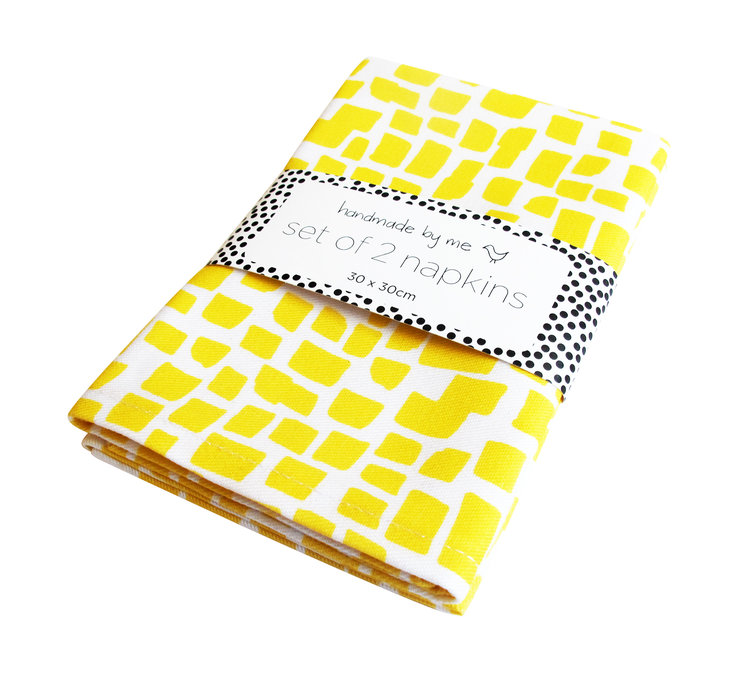 Yellow Squares Pattern Napkins (set of 2) by handmade by me