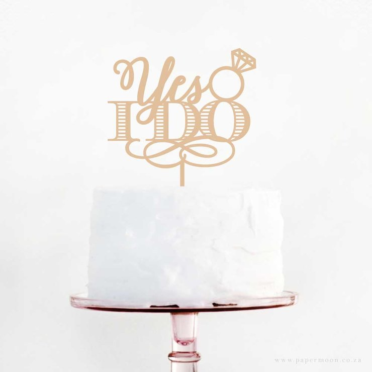 'Yes I do' Cake Topper by Papermoon