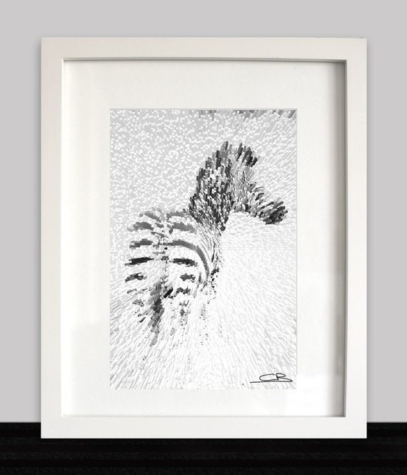 Zebra in the grass framed original print by Candice Brophy Art