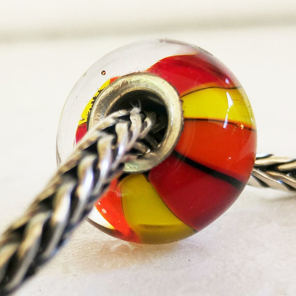 Red and yellow Stripy  Big Hole bead