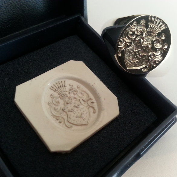 "The ""Classic Capetonian"" signet ring in fully hallmarked platinum complete with signed sketch of your family crest"