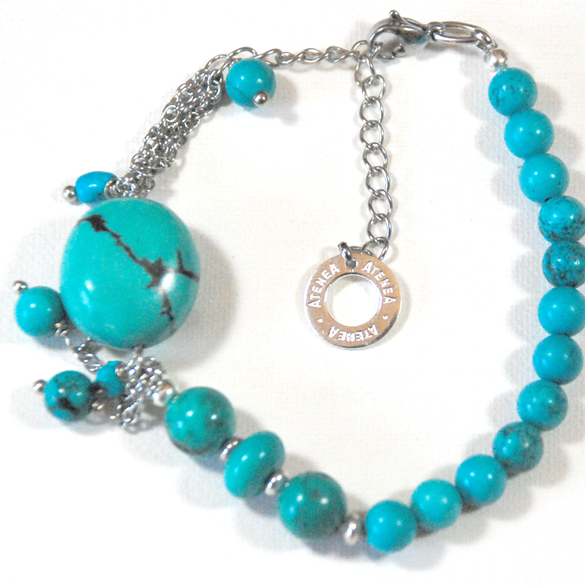 Natural Turquoise bracelet, graduated with nugget & fine chain