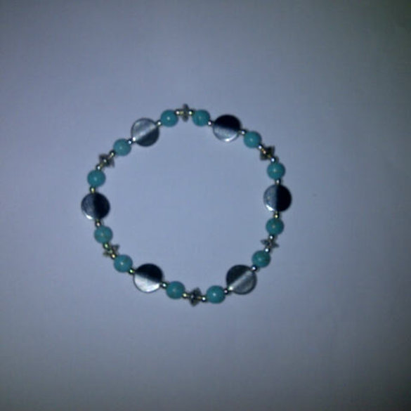 Turquoise and Silver Beaded Bracelet - Assorted Styles