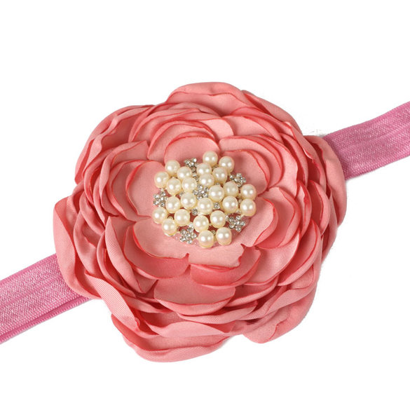 Croshka Designs Large Satin Layered Flower with Rhinestone Centre Headband - CHOOSE COLOR