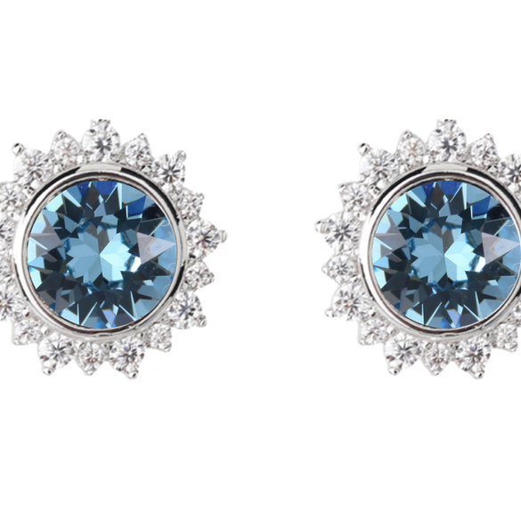 Civetta Spark Sunshine studs made with Swarovski Crystal- Aquamarine