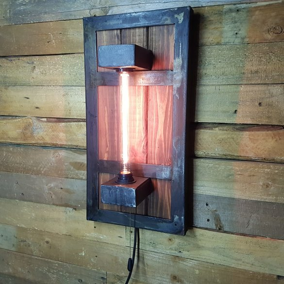 Heat treated oil dipped industrial wall light