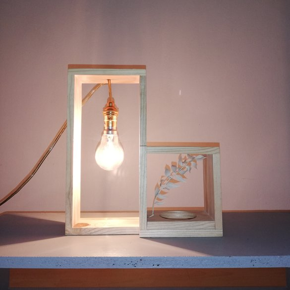Double Frame with light and glass