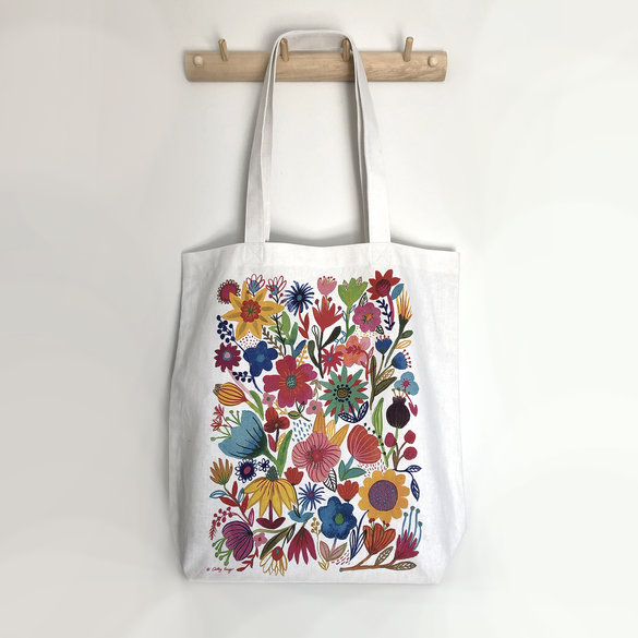 Hemp Linen Totebag / Shopping Bag in Wildflower