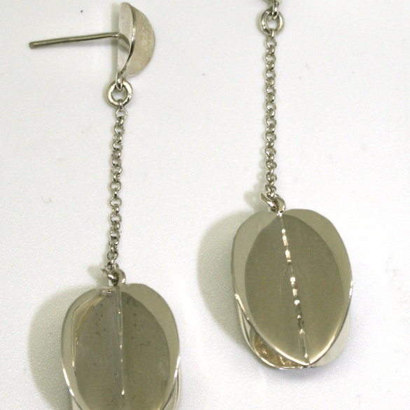 Sterling silver, large folded circle drop earrings