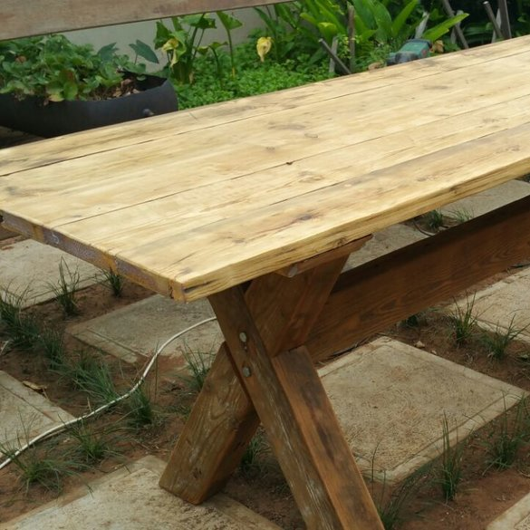 Refurbished Oregon Pine tables