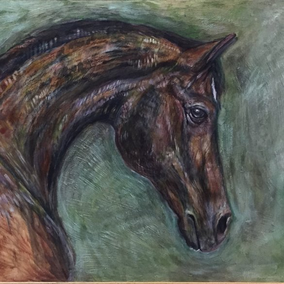 Big Horse Painting - Oil on board, Wooden Frame