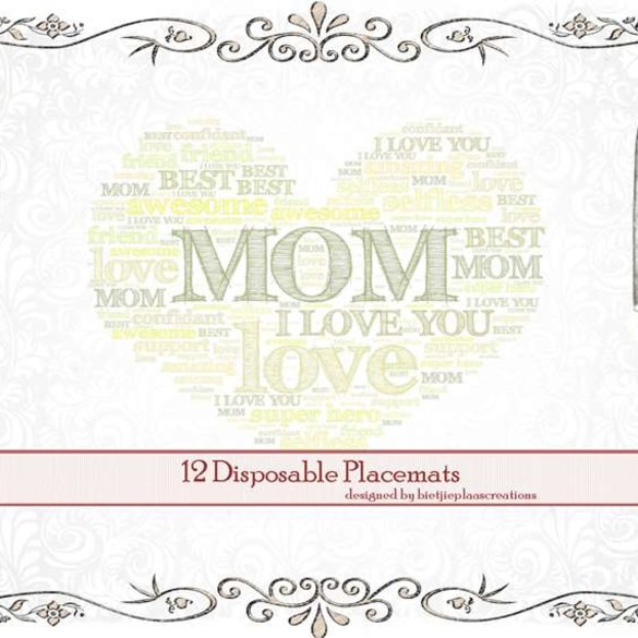 Disposable placemats (12x): I love you, Mom