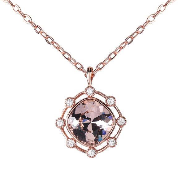 Civetta Spark Swarovski Chloe Necklace- with 925 silver chain- Vintage Rose Rosegold