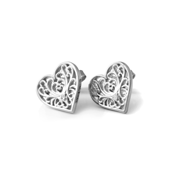 Filigree Heart Studs - Palladium Plated Sterling Silver