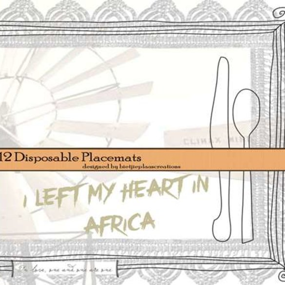 Disposable placemats (12x): I left my heart in Africa