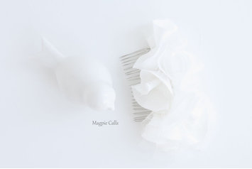Madison satin and tulle ruffle comb by Magpie Calls