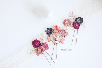 Odette Floral dusky pink and mauve pin set by Magpie Calls