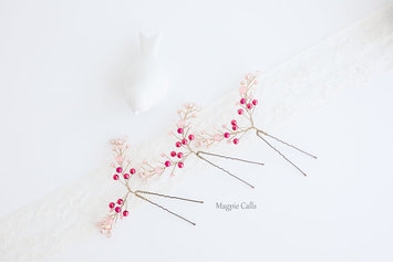 trixie ombre pink beaded hair pin set by Magpie Calls