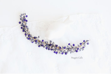 Vera navy blue beaded hairvine by Magpie Calls