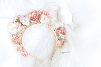 Floriana Fabric flower upright crown in pink and ivory by Magpie Calls