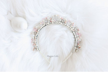 Cayleigh pearl and pink upright crown by Magpie Calls