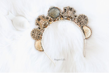 Jacqui Golden Goddess upright crown by Magpie Calls